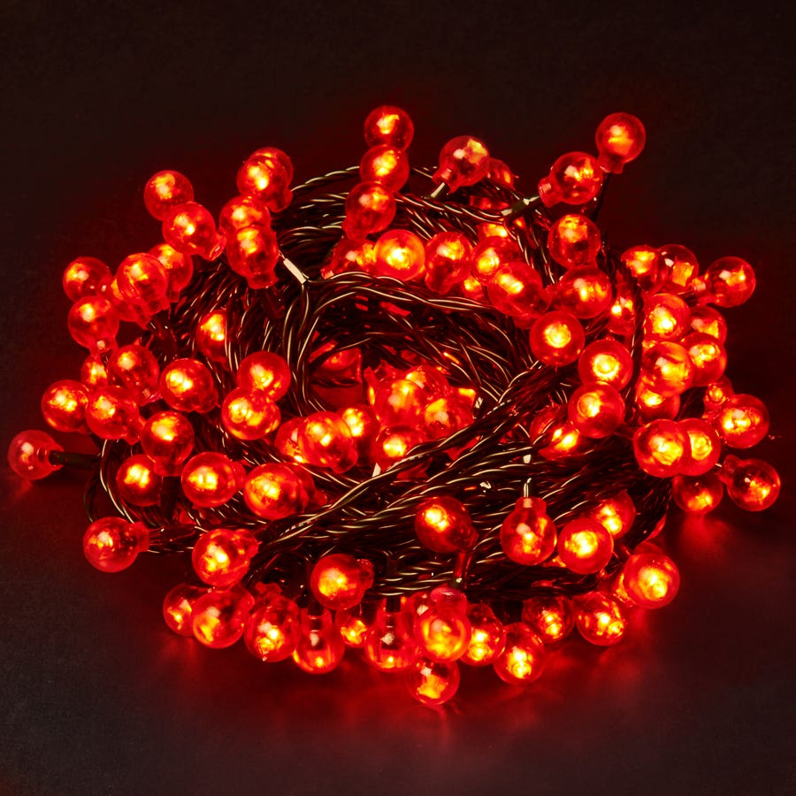 Robert Dyas Christmas 160 Red Berry Static LED Indoor & Outdoor Lights - Mains Powered
