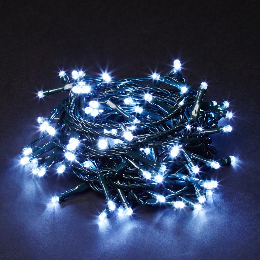 Robert Dyas Christmas 100 White Static LED Indoor & Outdoor Lights - Mains Powered