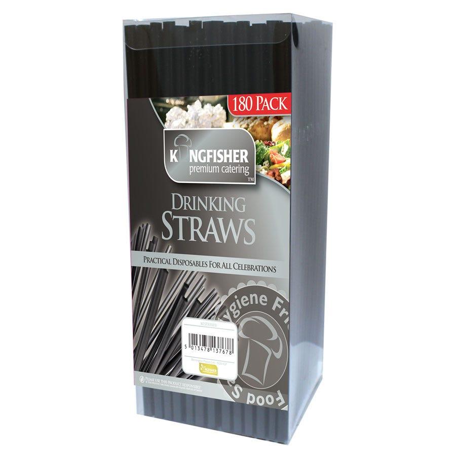 Image of Robert Dyas 180 Premium Bendy Straws - Black