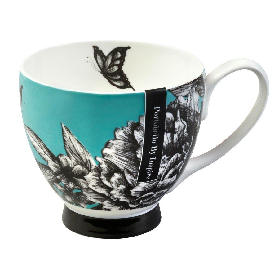 Image of Portobello by Inspire Zen Garden Fine Bone China Footed Mug – Turquoise