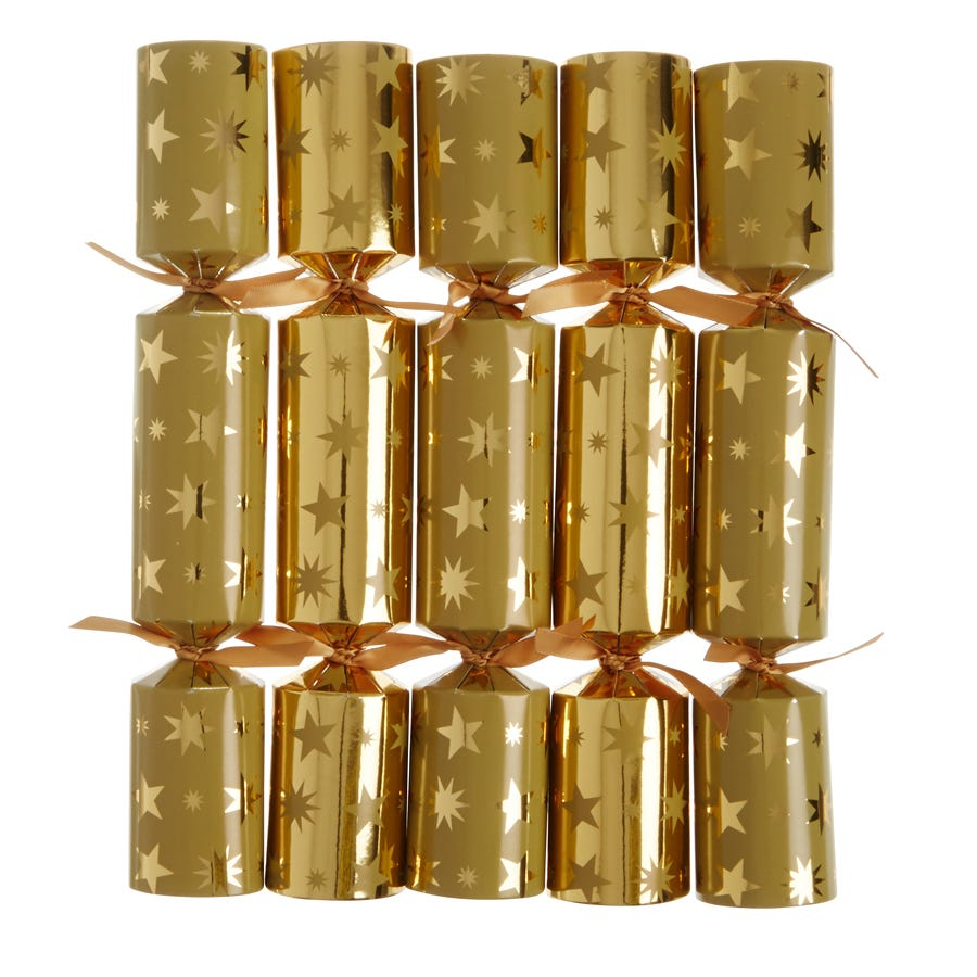 """Image of Robert Dyas 12"""" Family Crackers - 10 Pack, Gold Star"""
