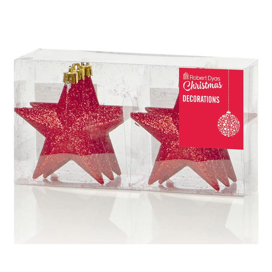 Robert Dyas Christmas 6 Glitter Star Shatterproof Tree Decorations