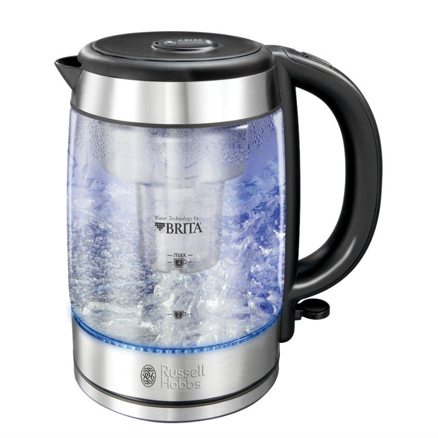 Russell Hobbs 2076010 Brita Purity Filter 3000W Glass Kettle with Blue Light Illumination - Clear/Silver