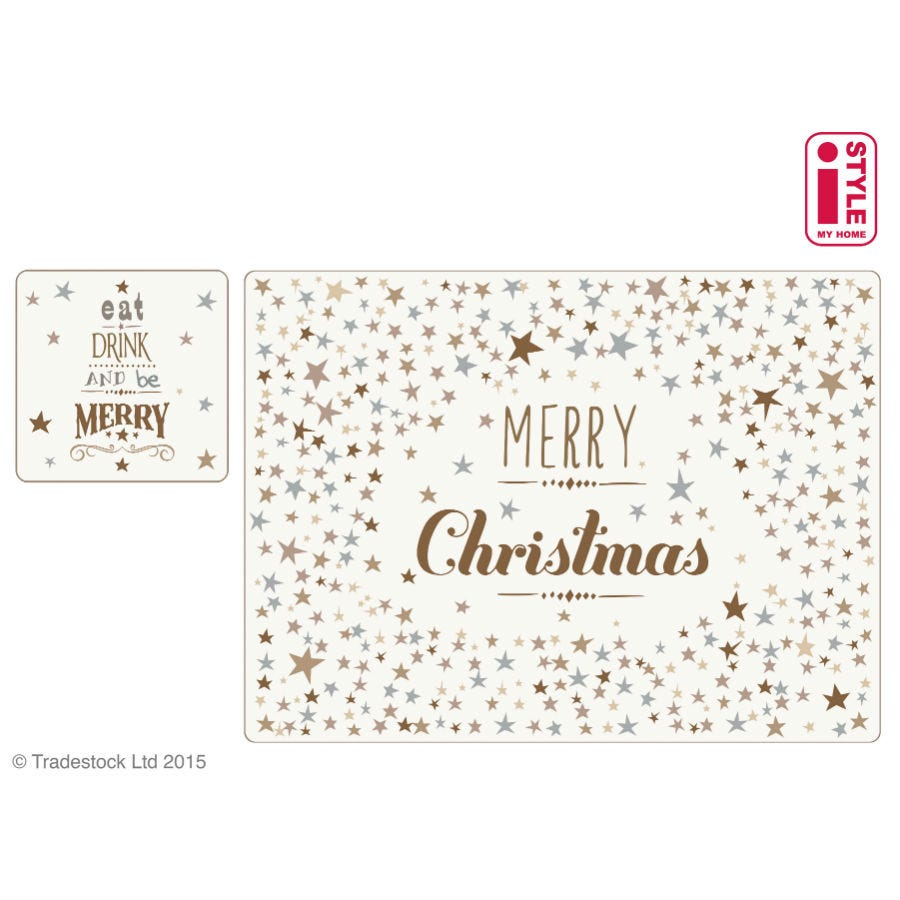 Image of Christmas Sparkle Placemats and Coasters – Set of 4