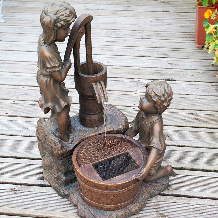 Image of Boy and Girl Pump Bronze-Effect Solar Water Fountain