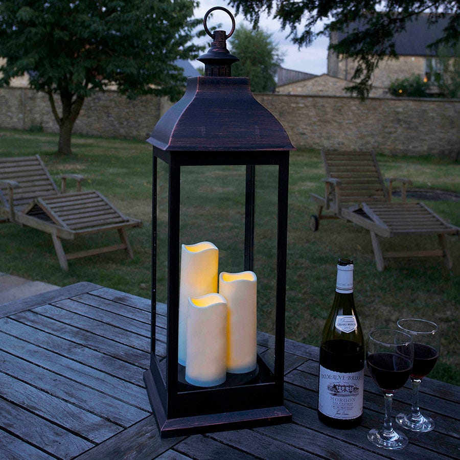 Copper-Effect LED Lantern