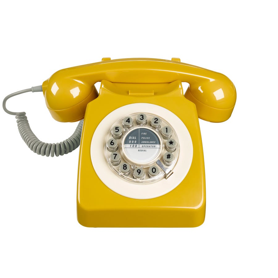 Compare prices for Wild and Wolf 1960s Design 746 Corded Telephone - Mustard