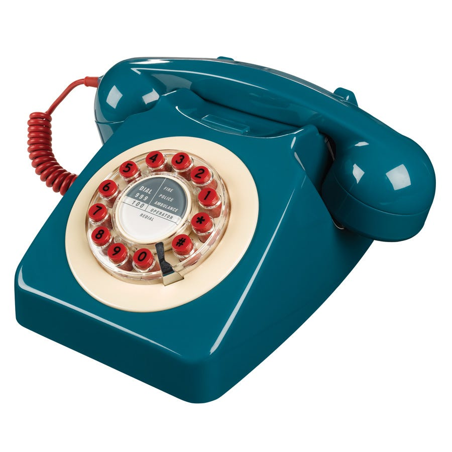 Compare prices for Wild and Wolf 1960s Design 746 Corded Telephone - Blue