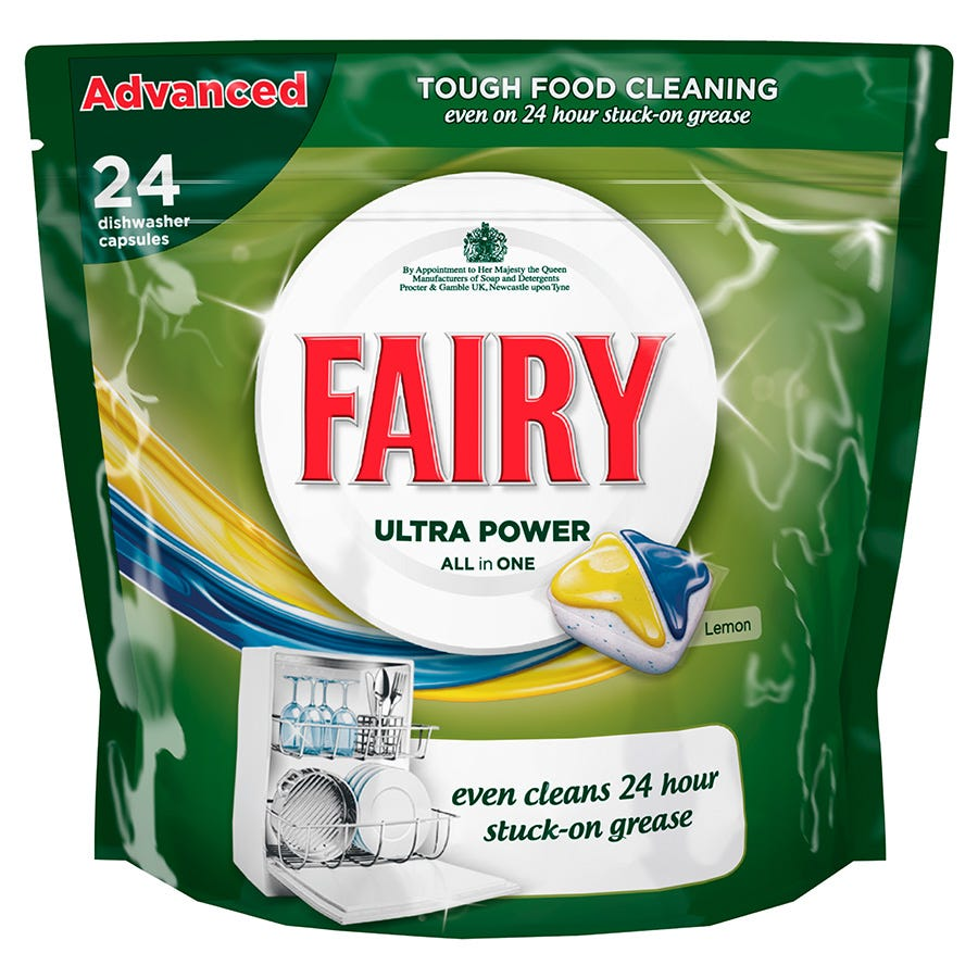 Image of Fairy All-in-One Lemon Dishwasher Tablets – 24 Pack