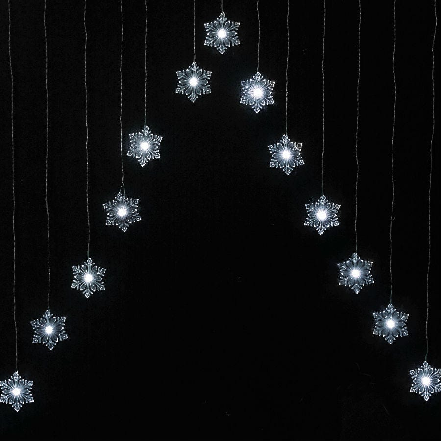 15 White Static Snowflake Curtain LED Lights