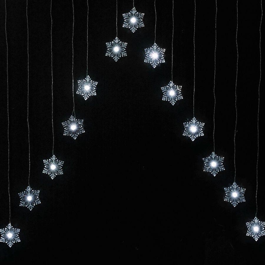 15 White Static Snowflake Curtain LED Lights