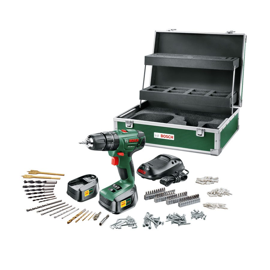 Bosch PSB 1800 18V Li-2 Cordless Combi Drill with 241-Piece Accessory Set and Toolbox
