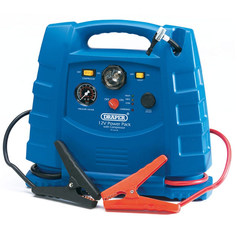 12v 700a Portable Power Pack With Air Compressor And Integral Light
