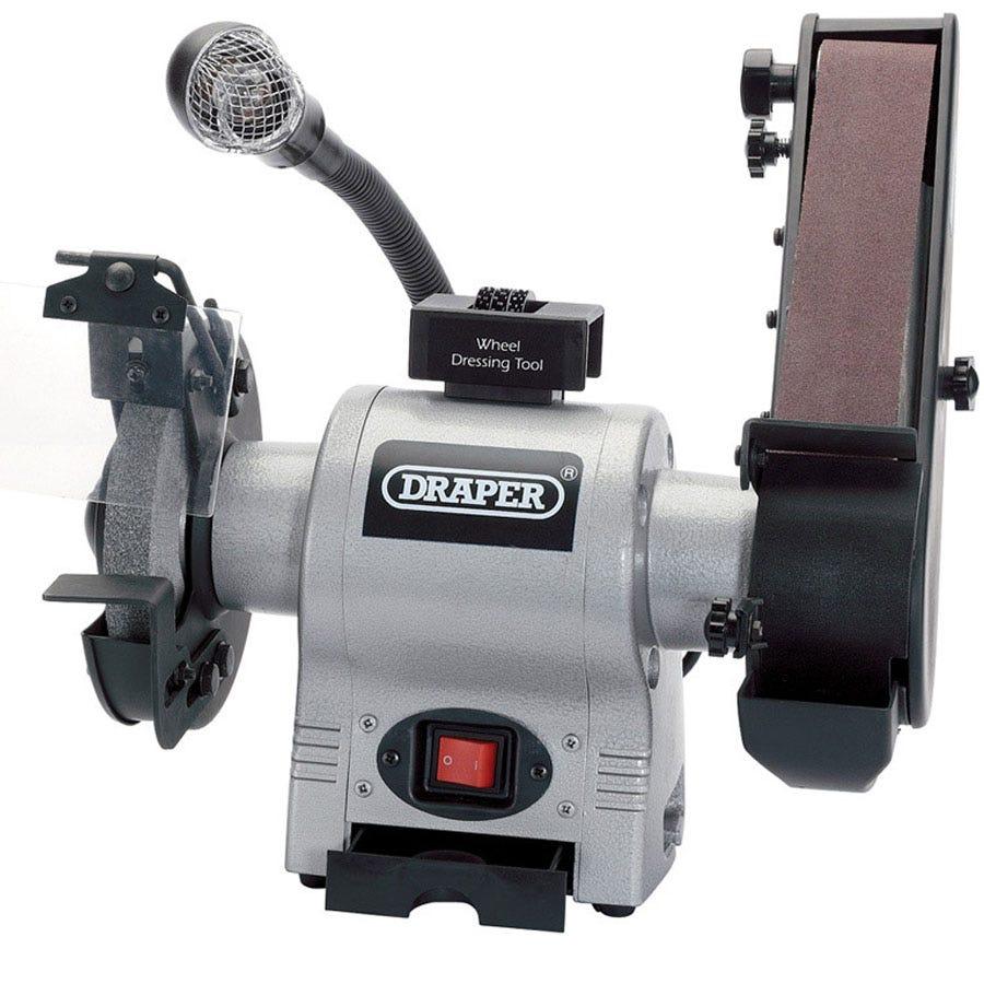 150mm 370w 230v Bench Grinder With Sanding Belt And Worklight
