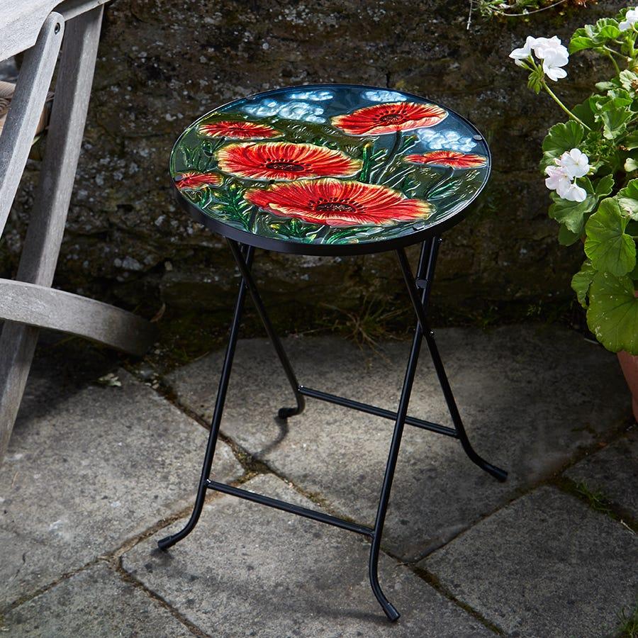 Smart Garden Poppy Glass Folding Side Table