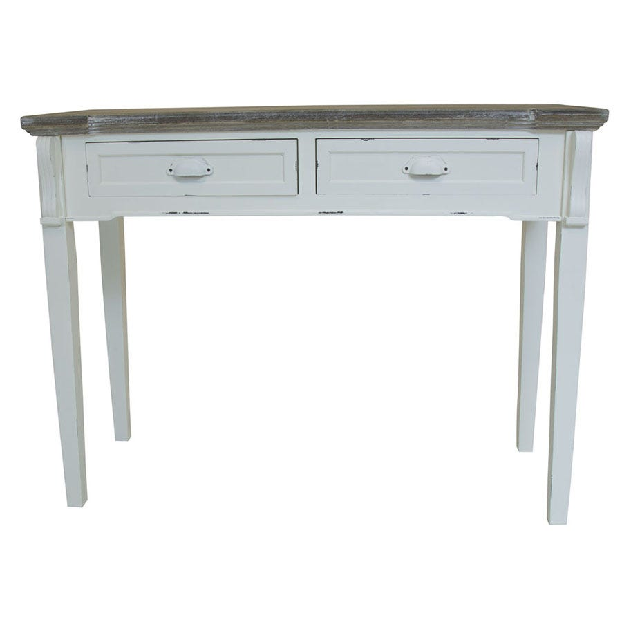 Charles Bentley Shabby Chic Vintage French Style 2-Drawer Console Table - White