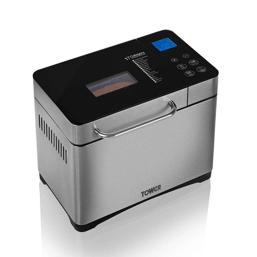 Tower GlutenFree Digital Bread Maker with nut Dispenser T11002 Bread Maker with 17 programmes - Stainless Steel