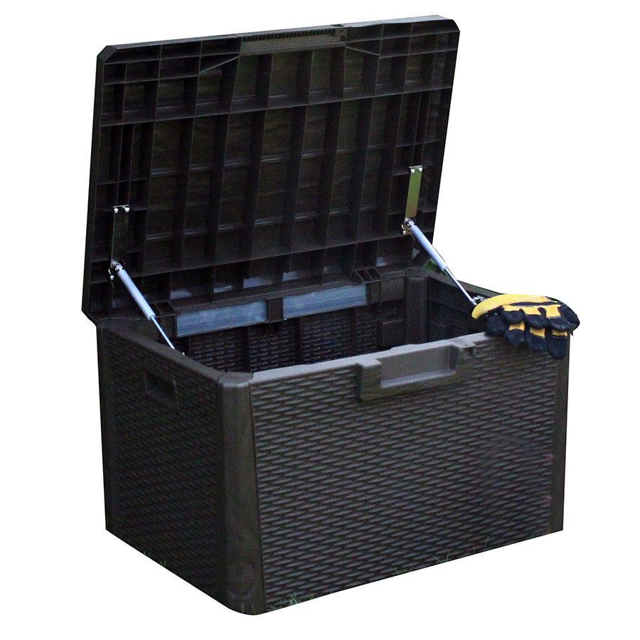 Kingfisher 120L Rattan-Effect Garden Storage Chest