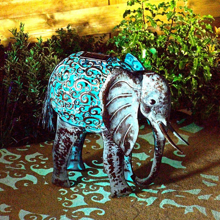 Smart Solar Metal Silhouette Elephant Light