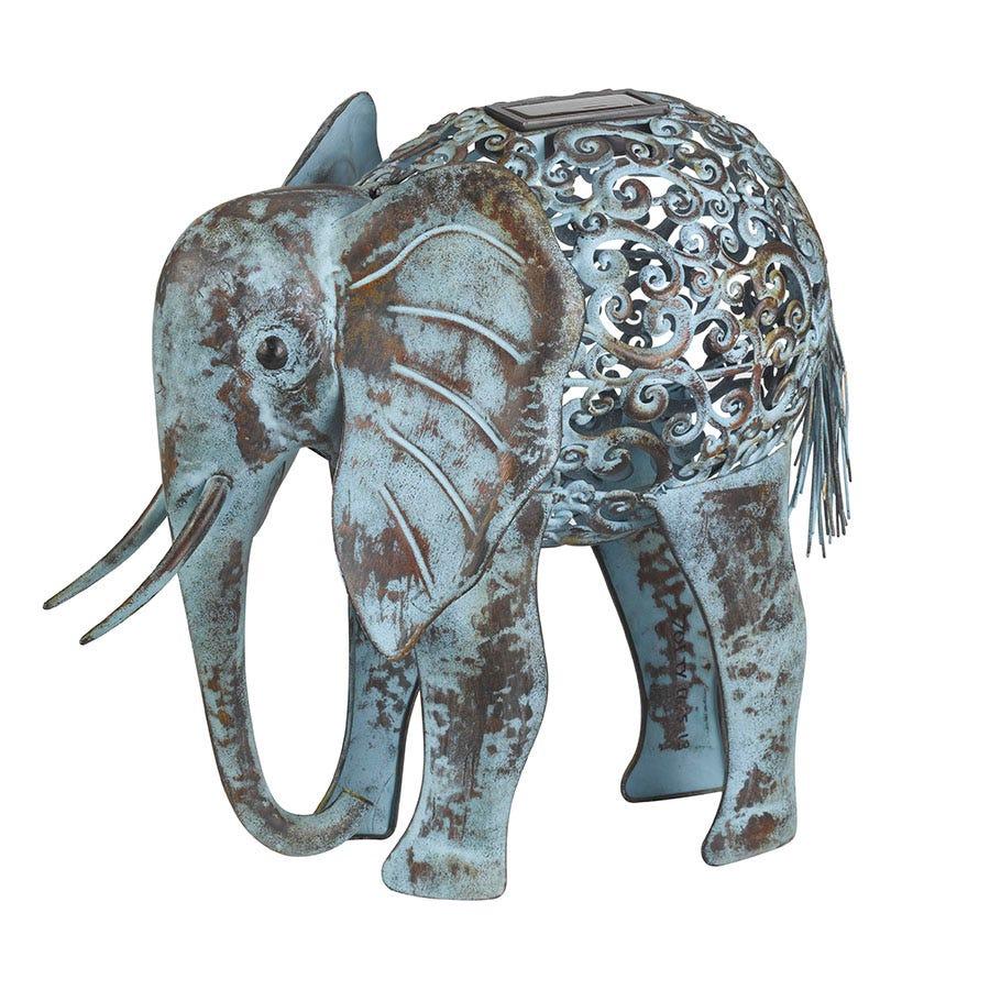 Image of Smart Solar Metal Silhouette Elephant Light