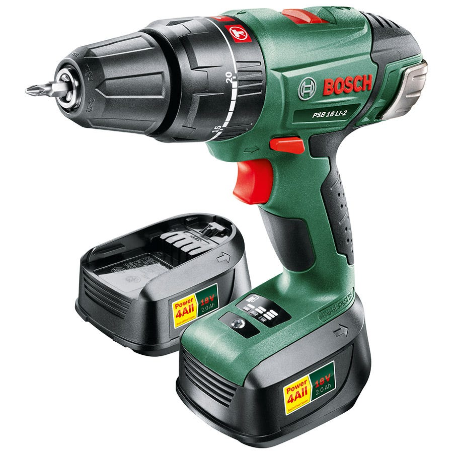 Compare retail prices of Bosch PSB 18 LI-2 18V Cordless Hammer Drill Driver with Spare Battery to get the best deal online