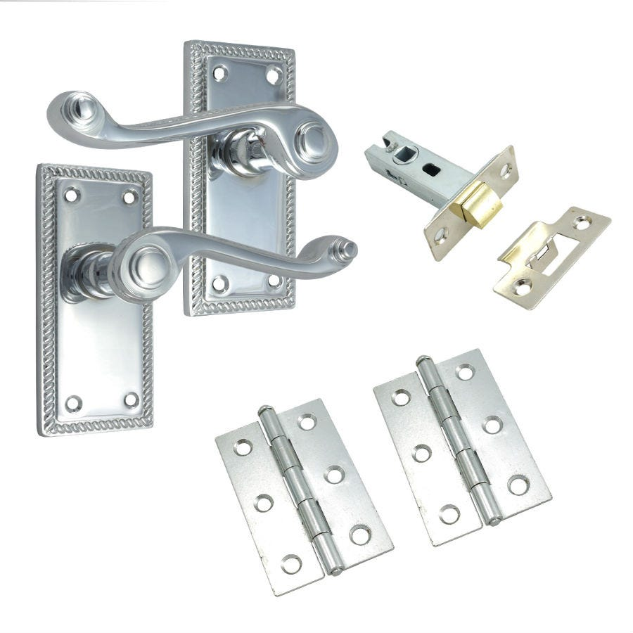 100mm Georgian Lock Set – Polished Chrome