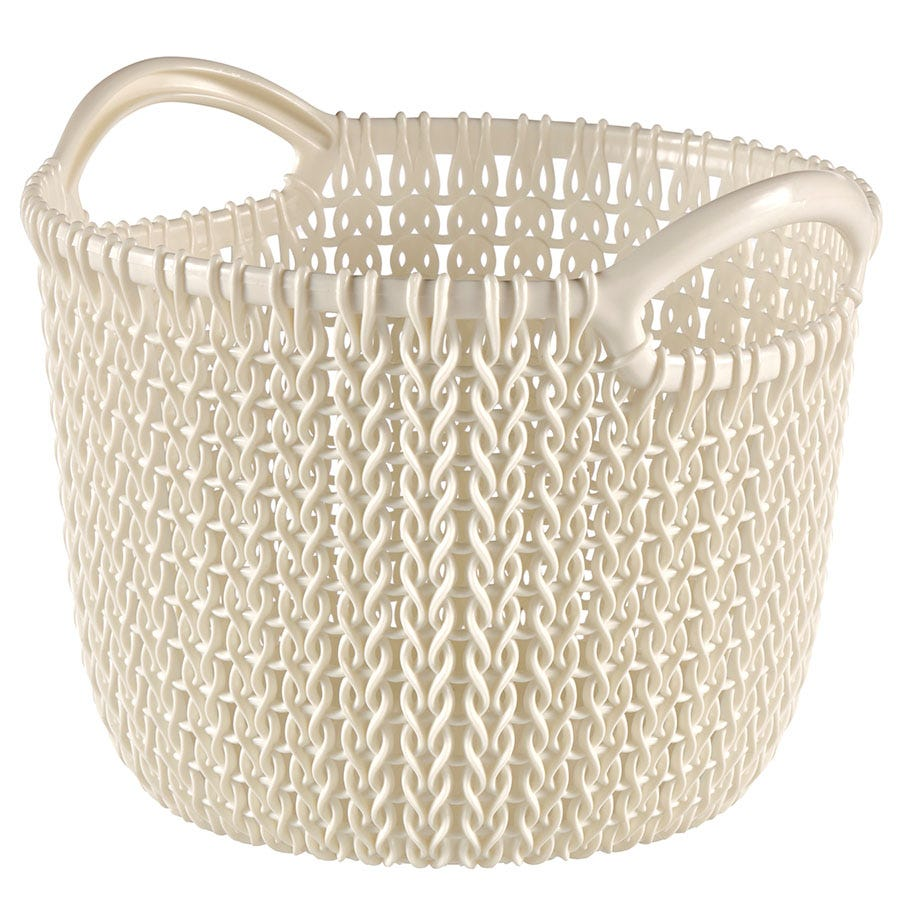 Compare prices for Curver Knit Round Basket - Oasis White