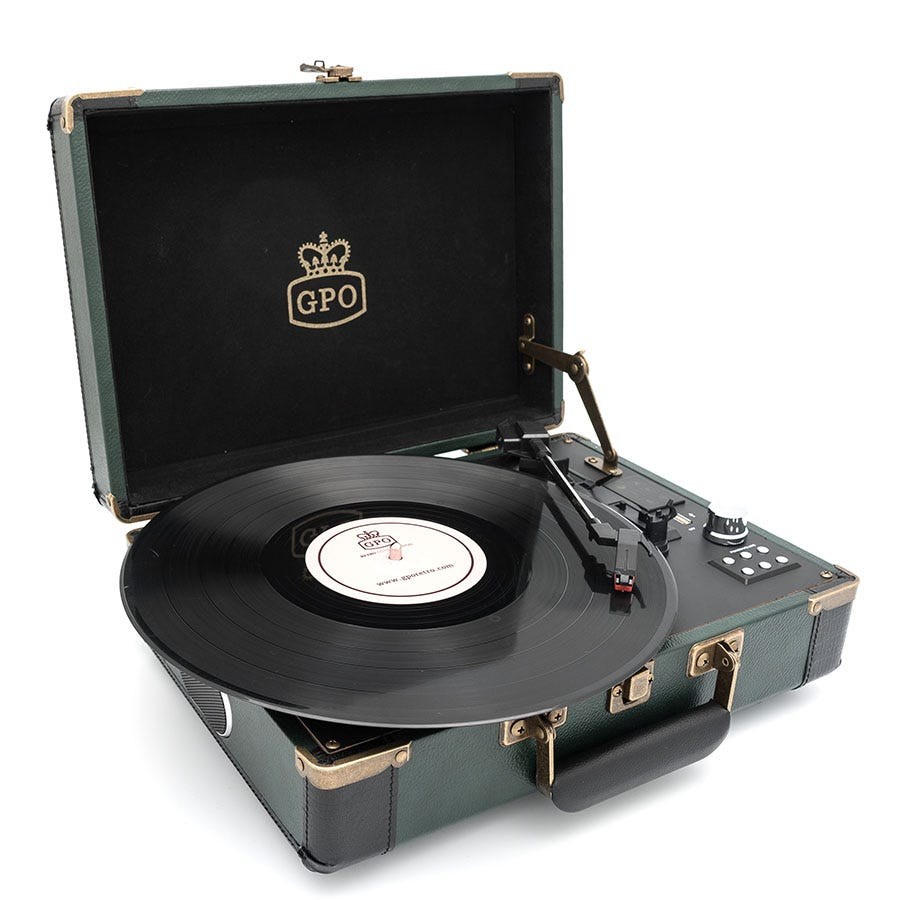 Cheapest price of GPO Ambassador 3-Speed Bluetooth Record Player - Green and Black in new is £93.99