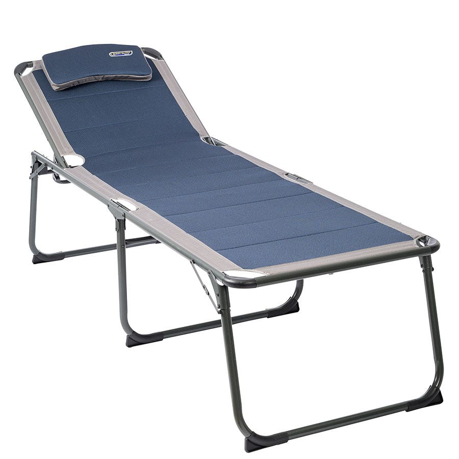 Quest Elite Ragley Pro Quick Dry Padded Sun Lounger and Camping Bed - Blue