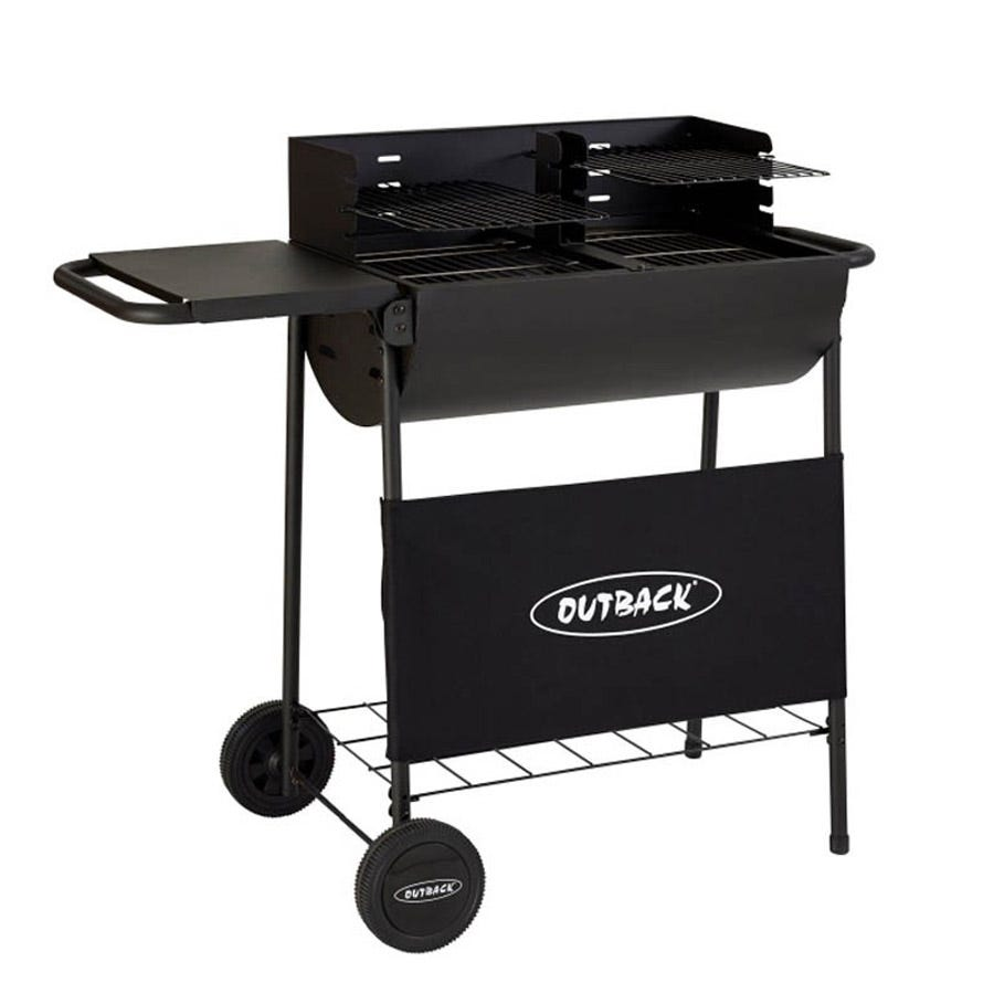 Image of Outback Half Drum Charcoal BBQ with Twin Grill - Black