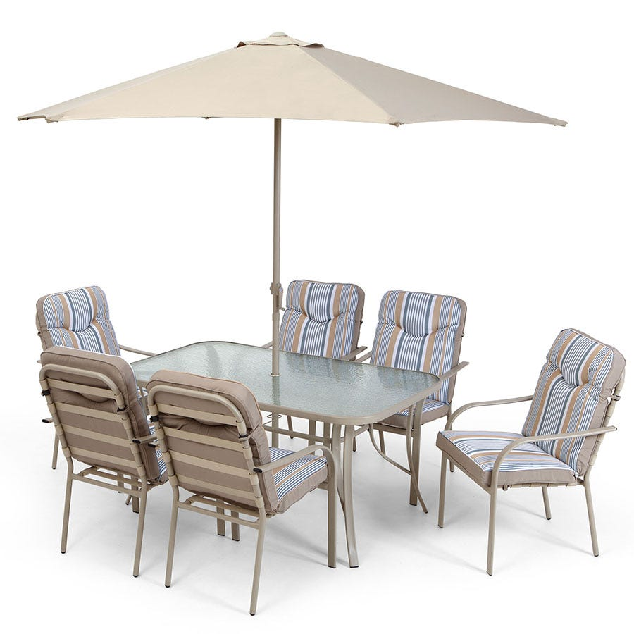 Robert Dyas Provence 6-Seater Garden Dining Set with 6 Padded Chairs Glass Table and Parasol