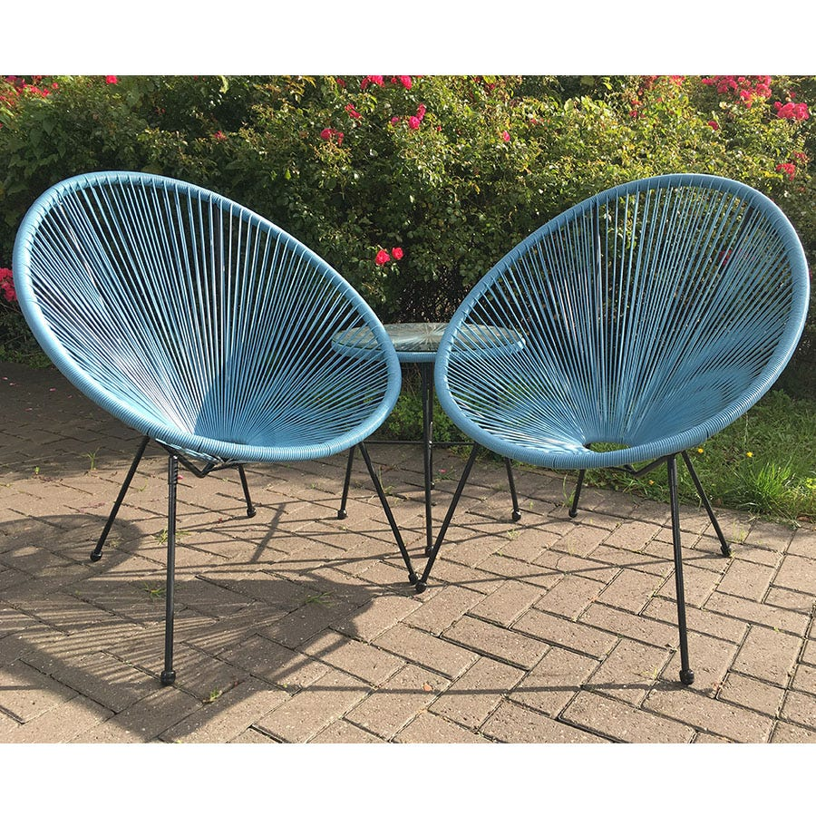 3-Piece Monaco Set of Table and Chairs - Blue