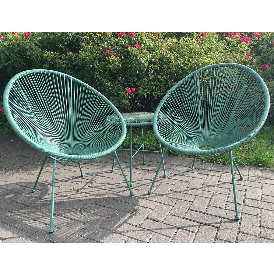 3-Piece Monaco Set of Table and Chairs - Green
