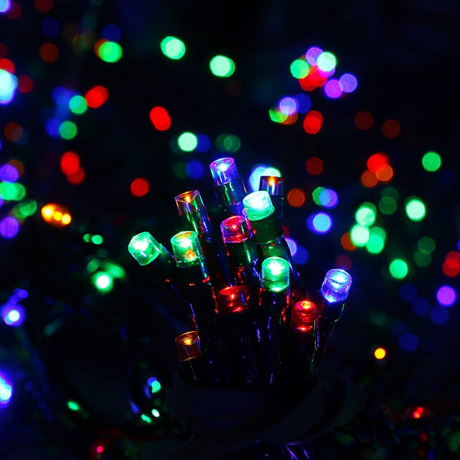 Compare prices for Kingfisher 200 Solar-Powered Multi-Coloured LED String Lights - 21.7m