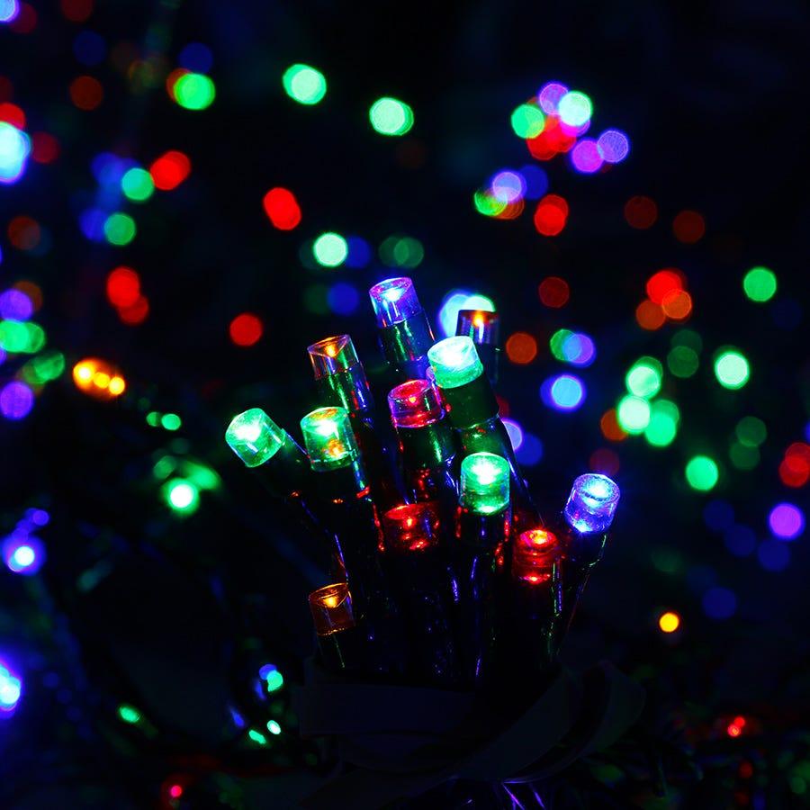 200 Solar-Powered Multi-Coloured LED String Lights – 21.7m