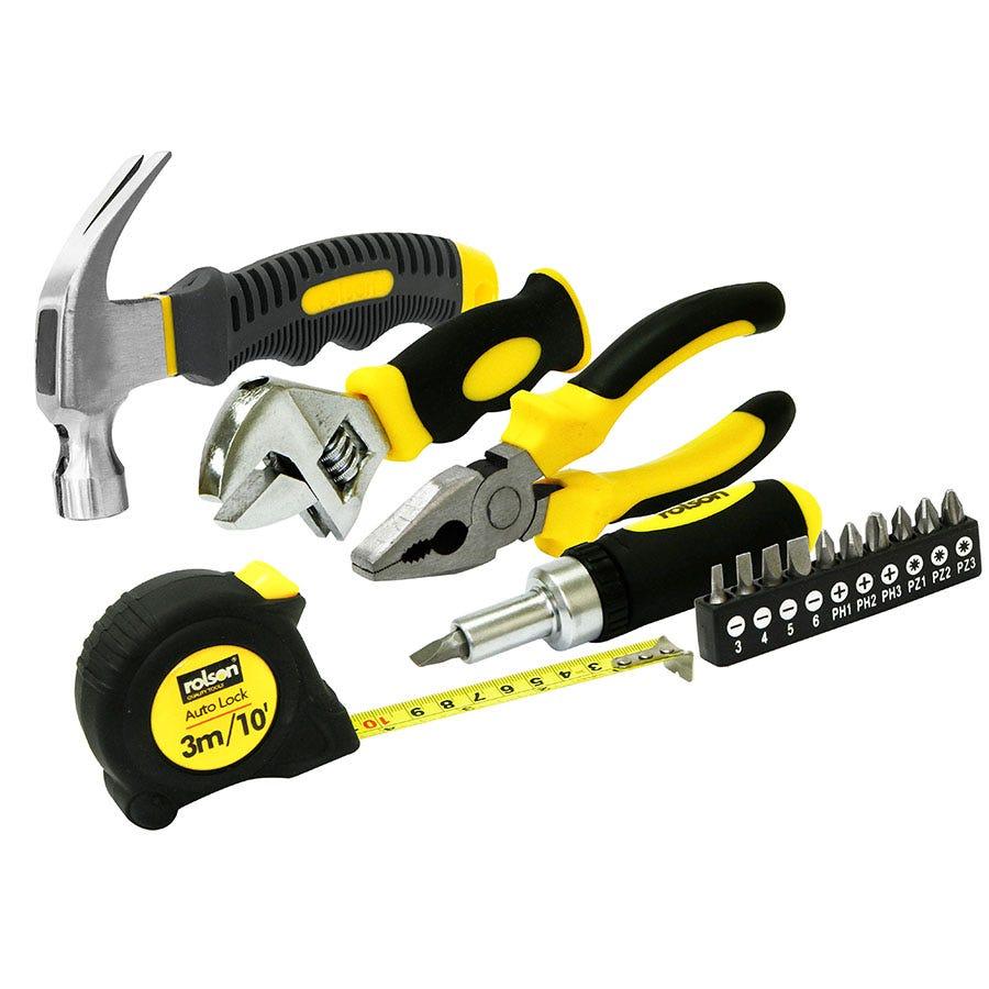 Rolson 15 Piece Stubby Home Tool Kit