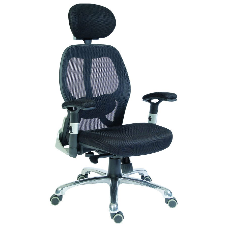 Teknik Cobham Luxury Mesh Back Executive Office Chair with Lumbar Support - Black