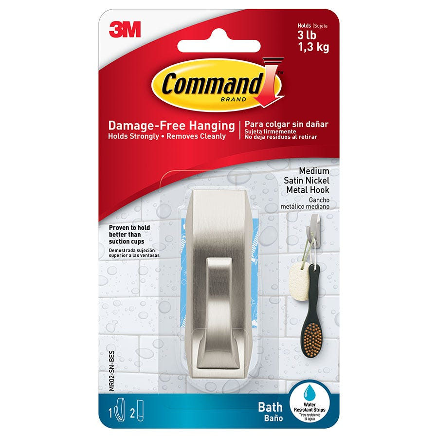 3M Command Bathroom Hook - Silver