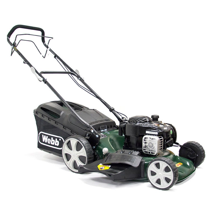 Compare prices for Webb R18HW 46cm Self-Propelled High-Wheel Petrol Rotary Mower
