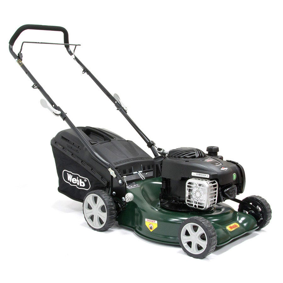 Compare prices for Webb R16HP 42cm Steel Deck Petrol Push Rotary Mower