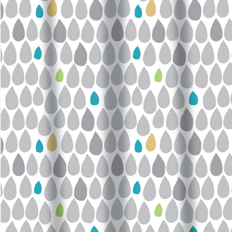 Sabichi Rain Drops PEVA Shower Curtain With 12 Rail Hooks