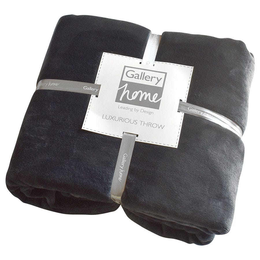 Compare prices for Gallery Flannel Fleece Throw - Charcoal