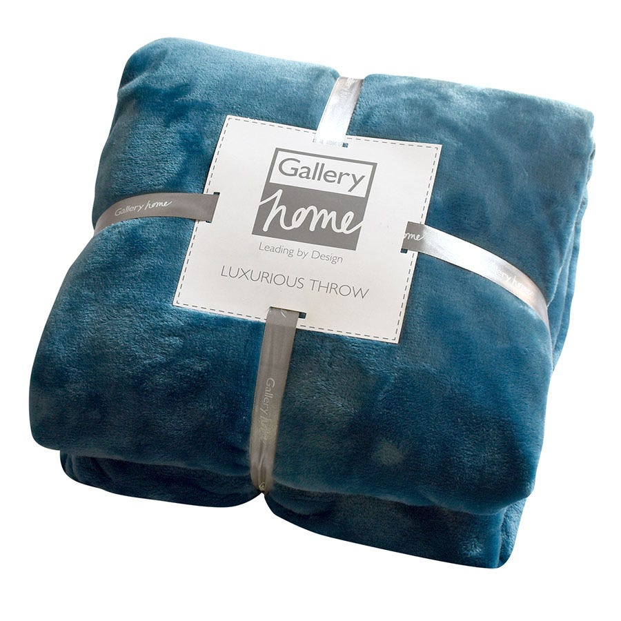 Compare prices for Gallery Flannel Fleece 140 x 180cm Throw - Teal