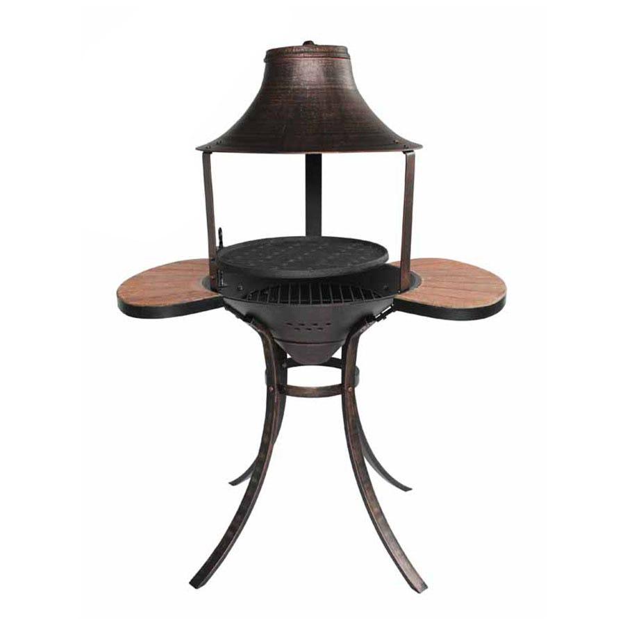 Image of Gardeco Corona Medium Cast Iron Chiminea Fire Pit and BBQ - Black