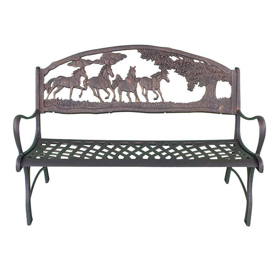 Compare prices for Gardeco Cast Iron Horses and Trees Bench