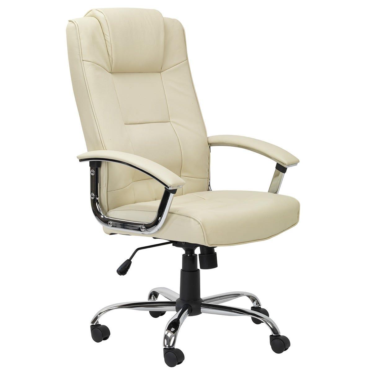 Alphason Houston Leather Office Chair - Cream