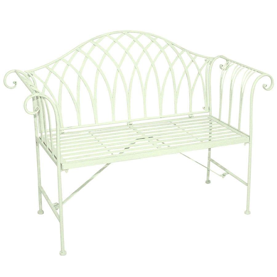Charles Bentley Wrought Iron 2-Seater Garden Bench - Pastel Green