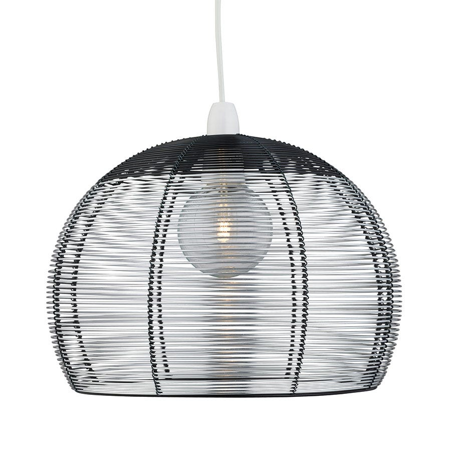 Lighting Collection Mia Silver And Black Pendant Light