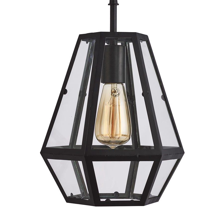 Lighting Collection Cleo Hexagonal Pedant Light Ndash Black