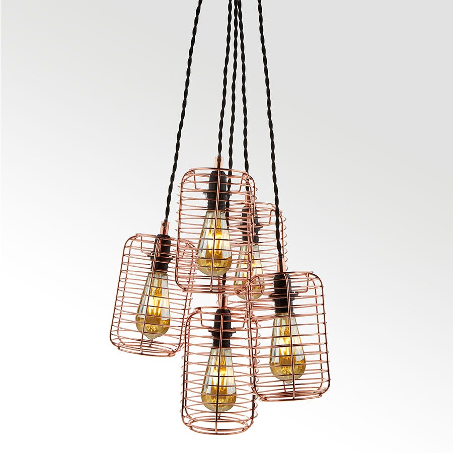 Compare prices for Searchlight Lighting Collection Alena Copper Multi-Drop Ceiling Light
